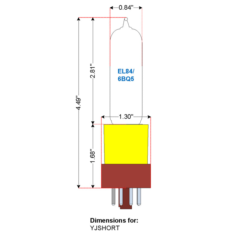 Yellow Jackets YJShort EL84 Tube Converter - Single (Standard Version)