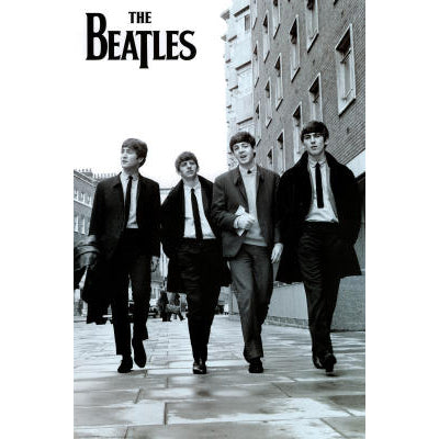 Beatles Walking B&W Poster