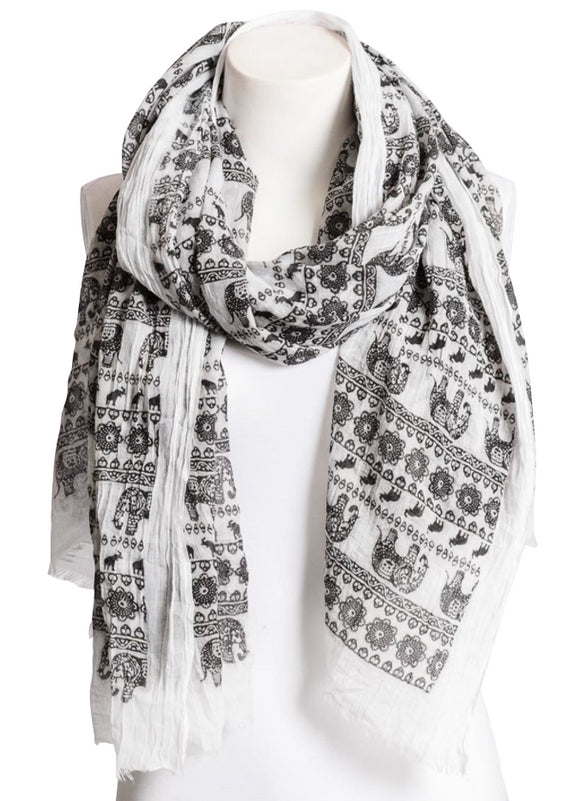 Black & White Elephant Scarf