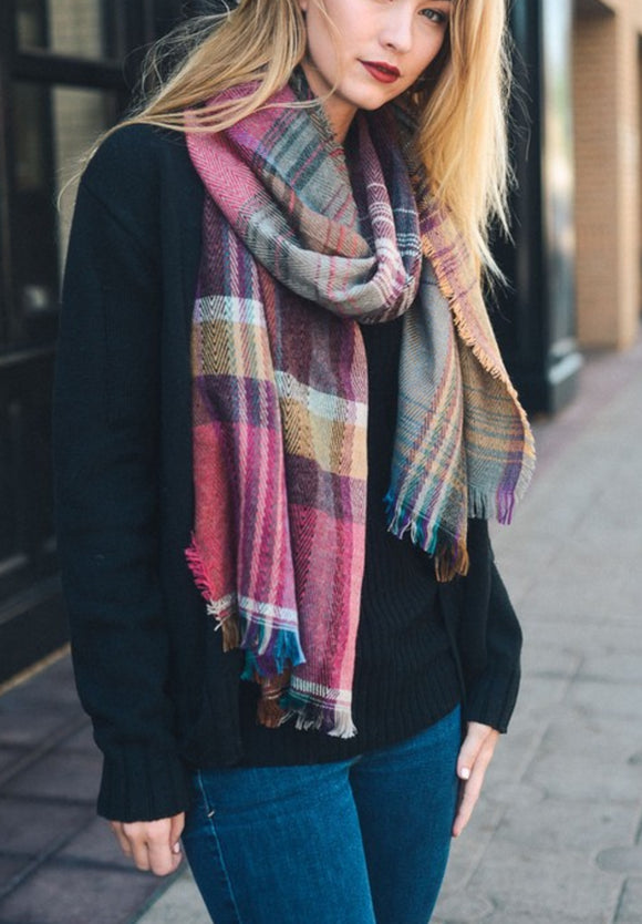 Beautiful Fuchsia Mix Plaid Winter Long Fringe