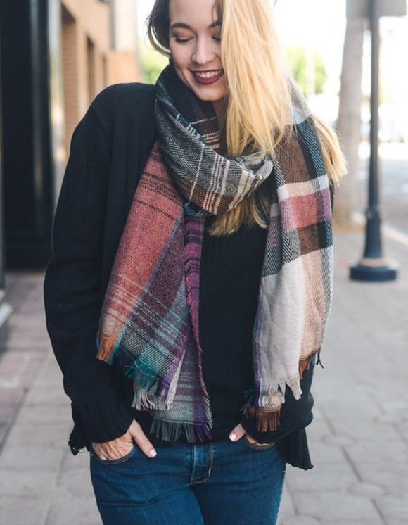 Mix Plaid Fringe Scarf