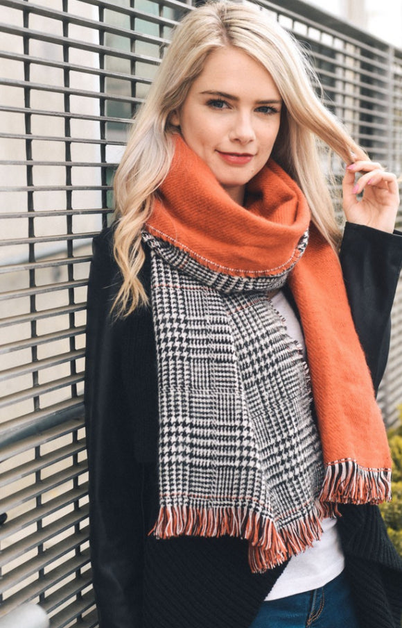 Coral Houndstooth Reversible Frayed Edge Scarf