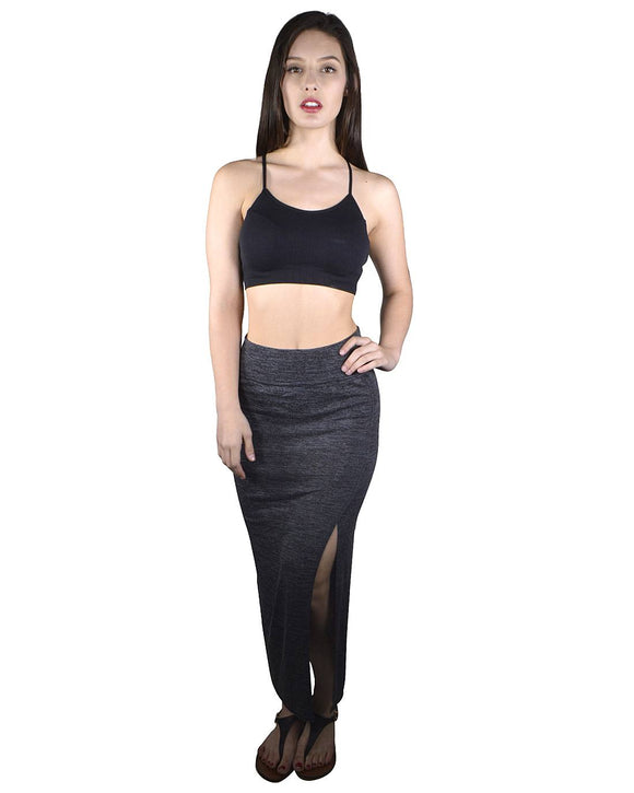 Slim Fit Side Slit Maxi Skirt