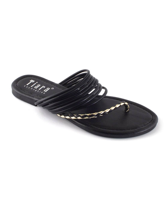 Braided Pattern Side Toe Strap Flat Sandals
