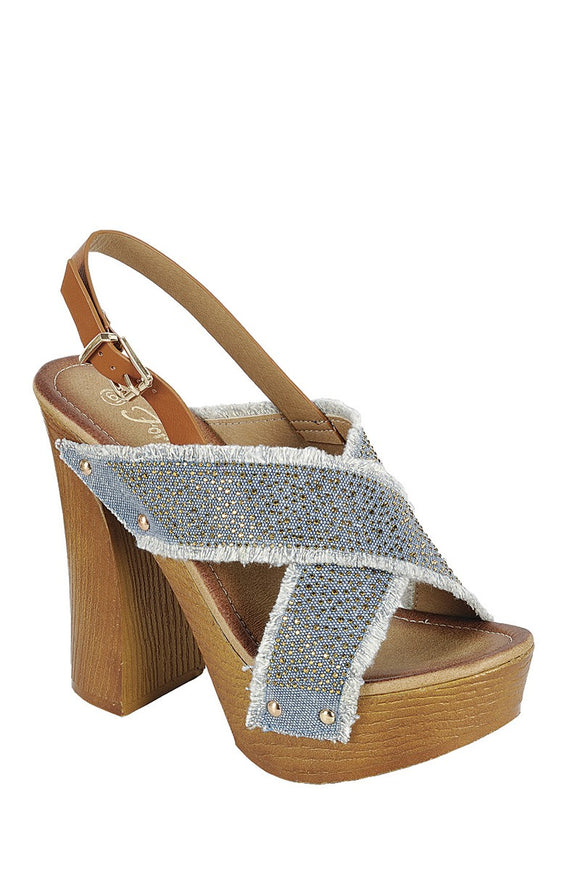 Ankle Strap with Adjustable Buckle, Wooden Block Heel