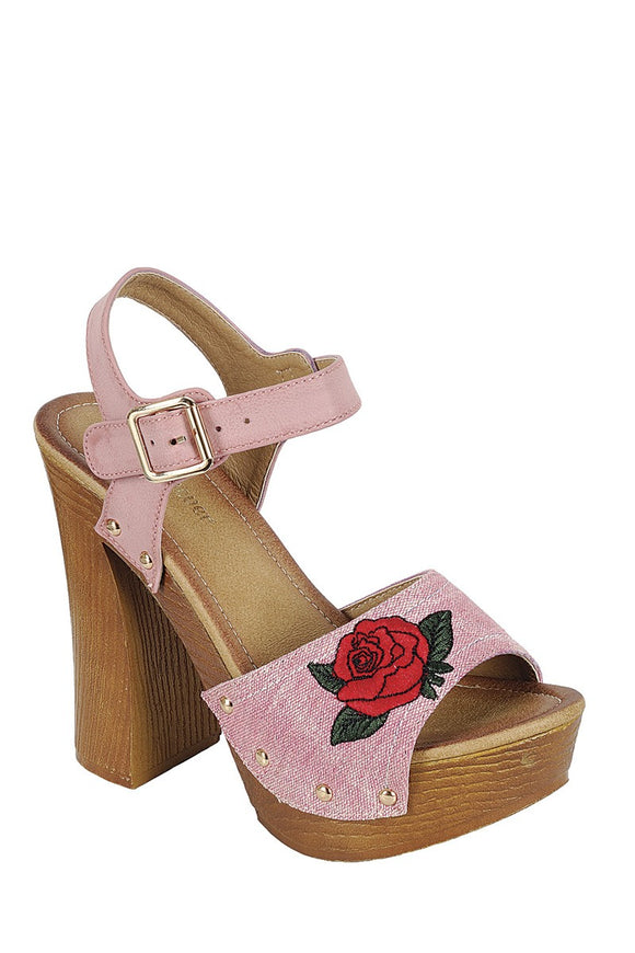 Leather Upper Slingback Strap with Buckle, with Wooden Stacked Block Heel