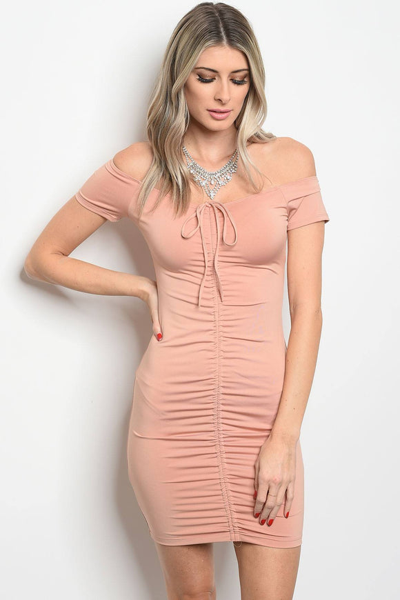 Ruched Off The Shoulder Bodycon