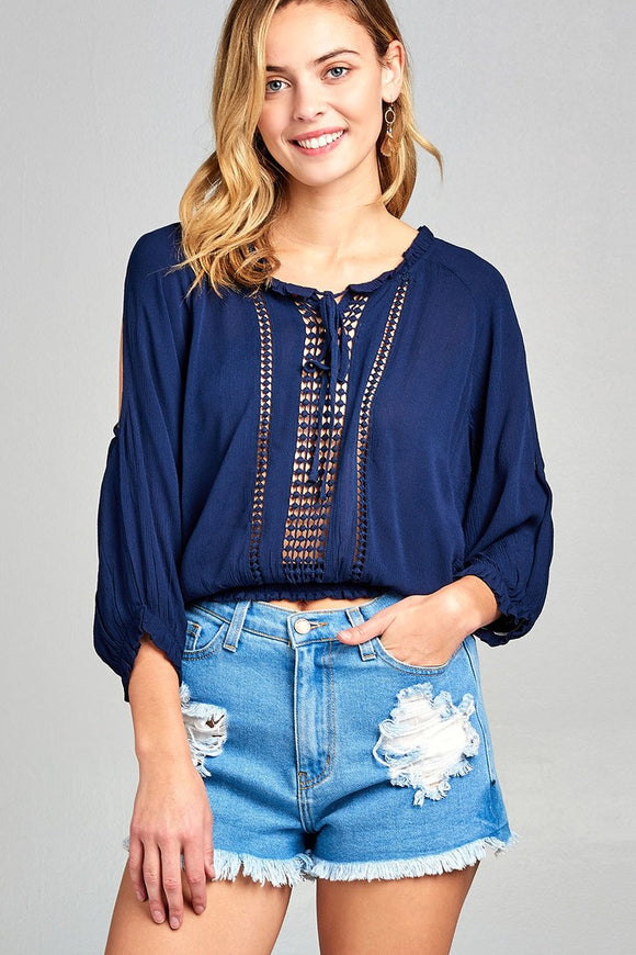 Lace Trim Cold Shoulder Woven Top