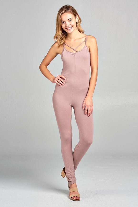 Front Cross Strap Fitted Cotton Jumpsuit