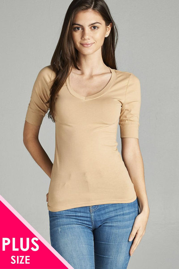 Plus Size Elbow Sleeve V-Neck Top