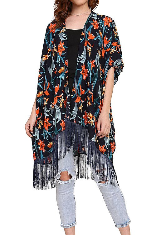 Tropical Floral Fringed Kimono