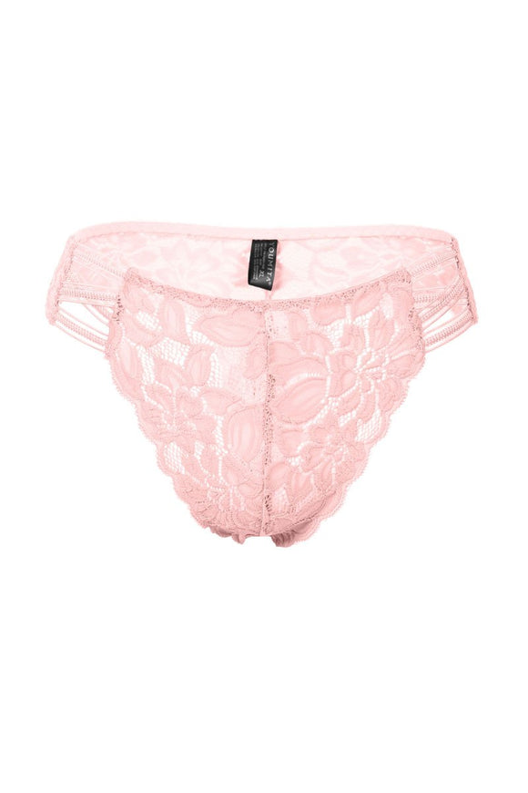 Caged Floral Lace Thong - Blush