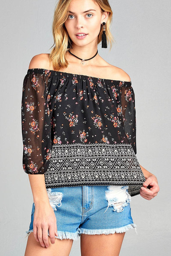Floral Border Print Chiffon Off The Shoulder Top