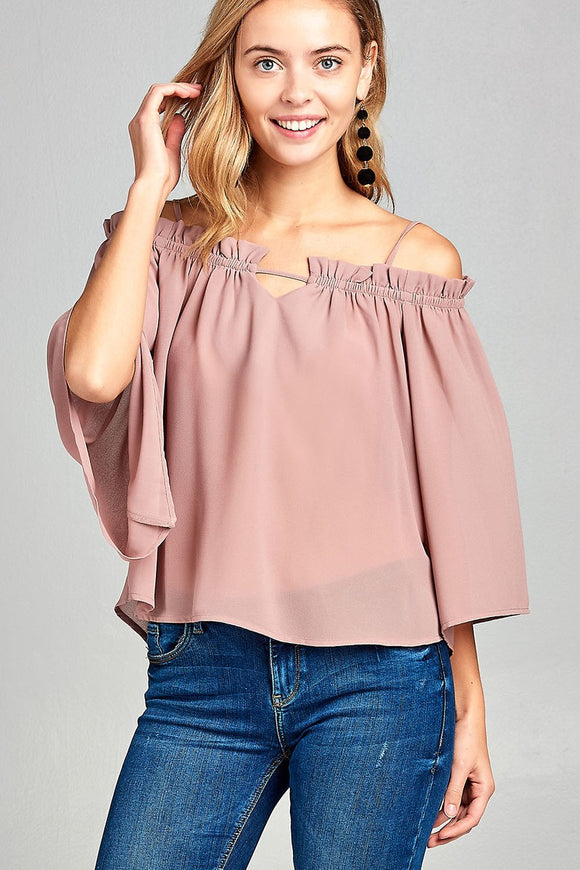 Chiffon Open Shoulder Top
