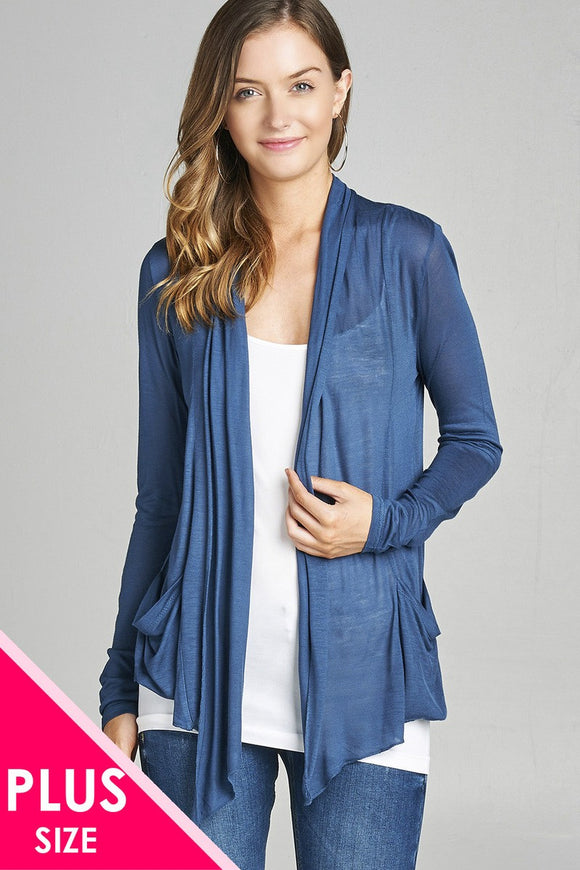 Plus Size Long Sleeve Flyaway Cardigan w/Side Pockets