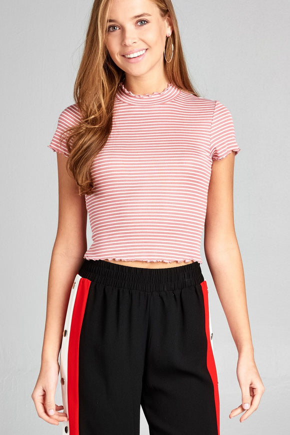 Short Sleeve Mock Neck Ruffled Hem Stripe Rayon Spandex Rib Top