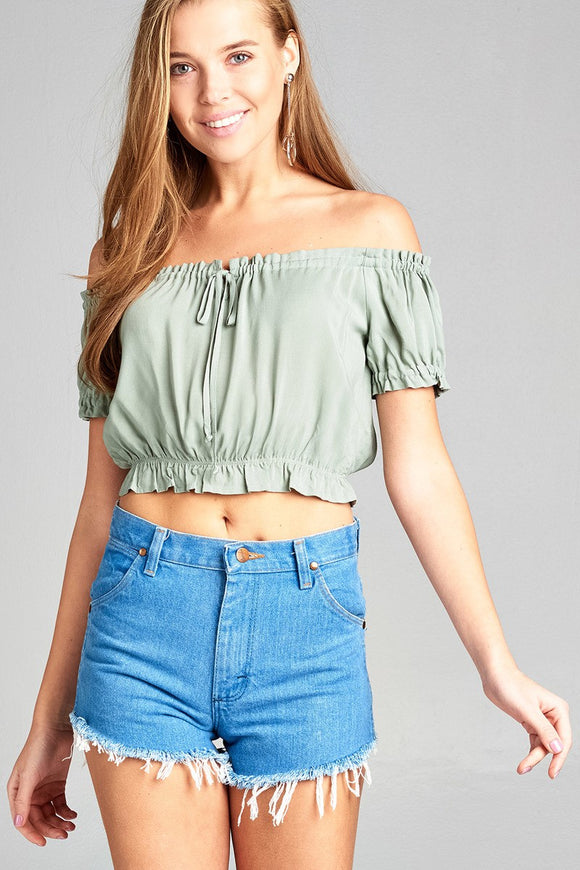 Short Sleeve Off The Shoulder Bubble Hem w/Ribbon Tie Waist Elastic Crop Challis Woven Top