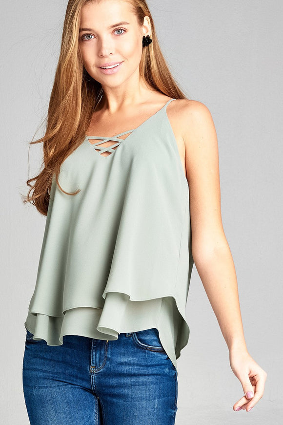 Sleeveless Lace-Up Detail Double Layer Georgette Chiffon Woven Top