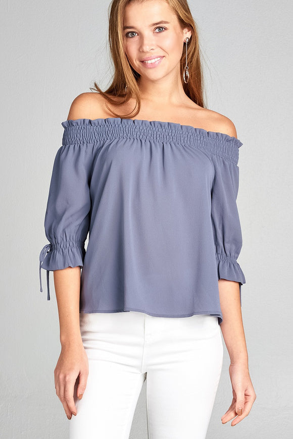 Short Sleeve w/String Off The Shoulder Smocked Detail Crepe Woven Top