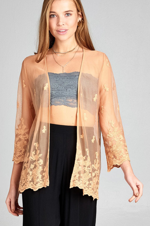 Open Front Scalloped Hem Lace Cardigan
