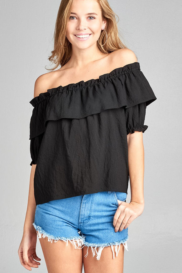 Short Sleeve w/Elastic Off The Shoulder Flounce w/Ruffle Woven Top