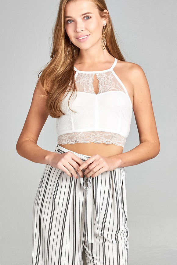Heart Neckline Halter Neck Open Back Lace Crop Top