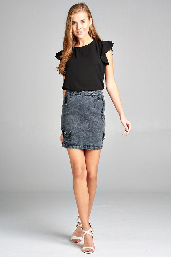 Distressed Denim Mini Skirt w/Back Zipper