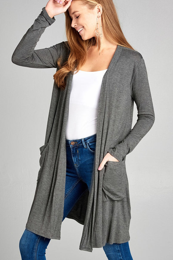 Open Front w/Pocket Charcoal Gray Cardigan