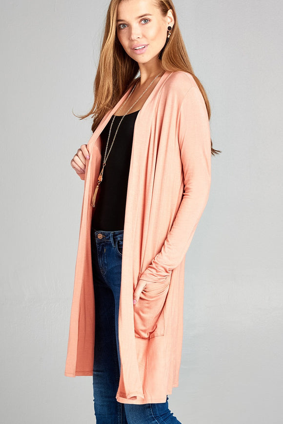 Open Front w/Pocket Long Length Cardigan - Apricot