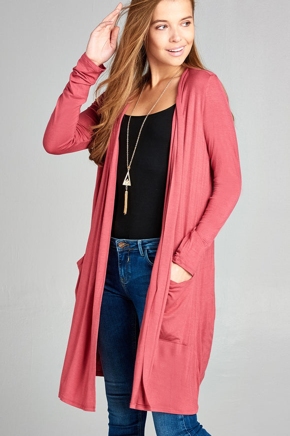 Open Front w/Pocket Raspberry Pink Cardigan