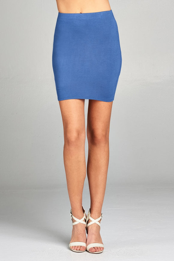 Pencil Mini Skirt - Blue
