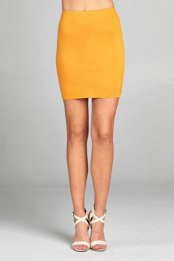 Slim Fit Mini Skirt - Gold/Mustard