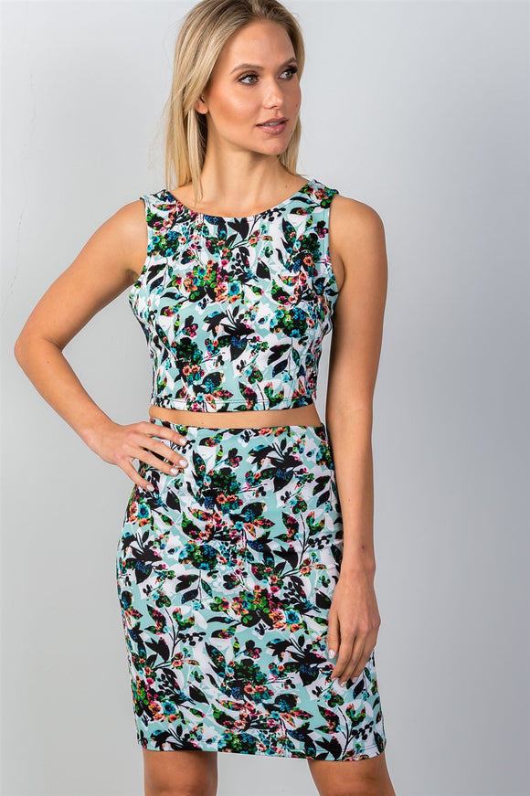Multi Floral Print Two Piece Set