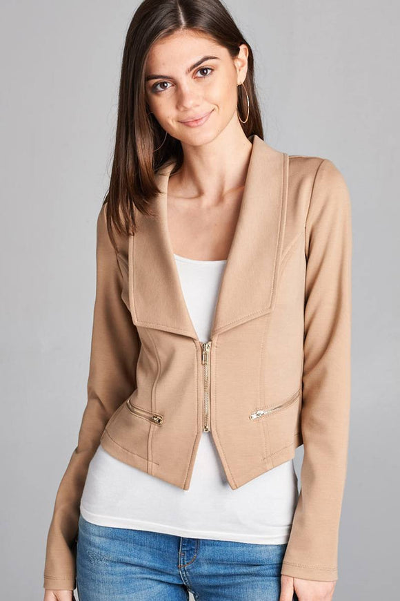Long Sleeve Zip Front Blazer