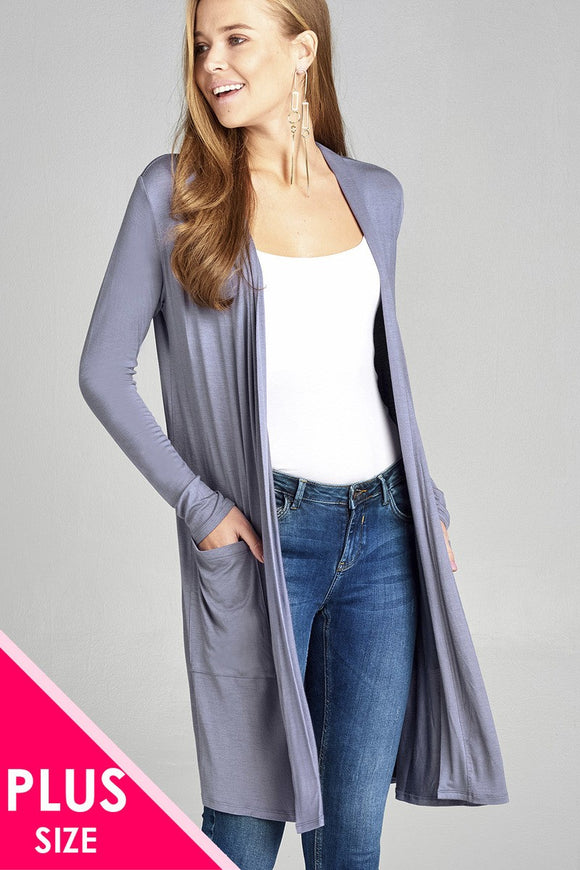 Plus Size Long Sleeve Open Front w/Pocket Long Length Rayon Spandex Cardigan