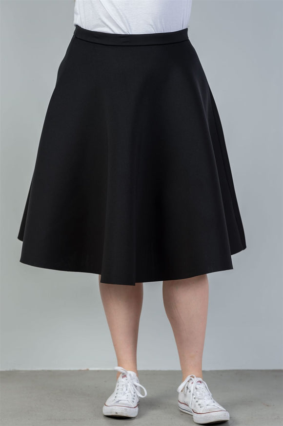 Plus Size Midi Length Black Midi Skirt