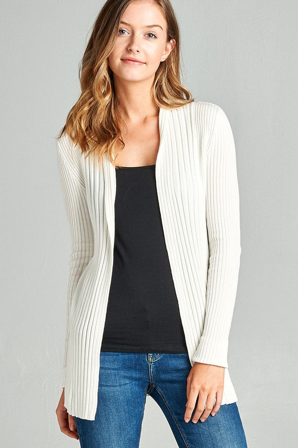 Ladies fashion long sleeve open front ribbed knit cardigan