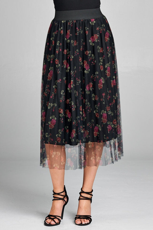 Elastic waist band w/accordian pleated floral print mesh midi skirt