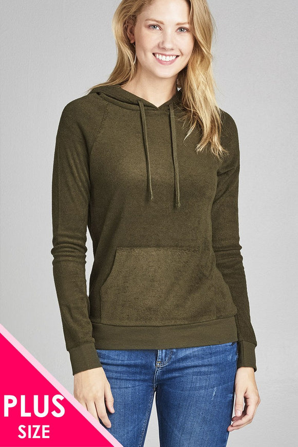 Plus size long sleeve hoodie pull over w/kangaroo pocket french terry top