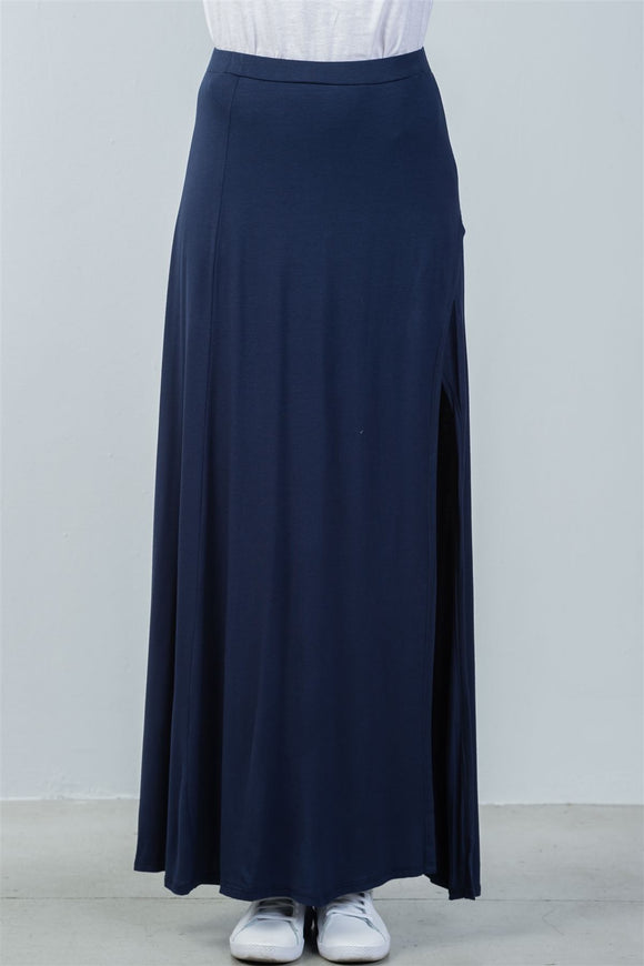 Elastic waist band side slit long skirt
