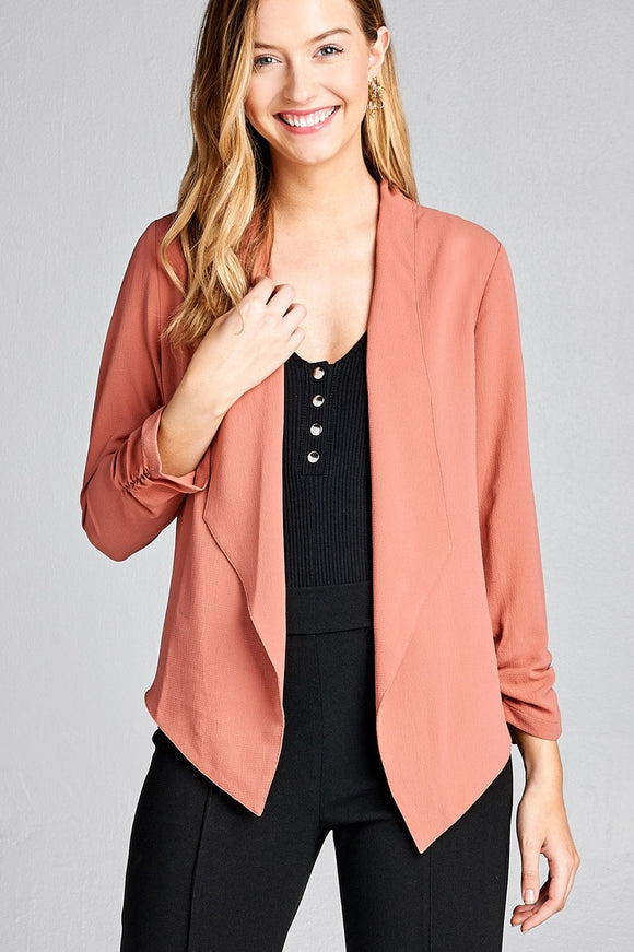 Shirring sleeve open front w/lapel woven jacket