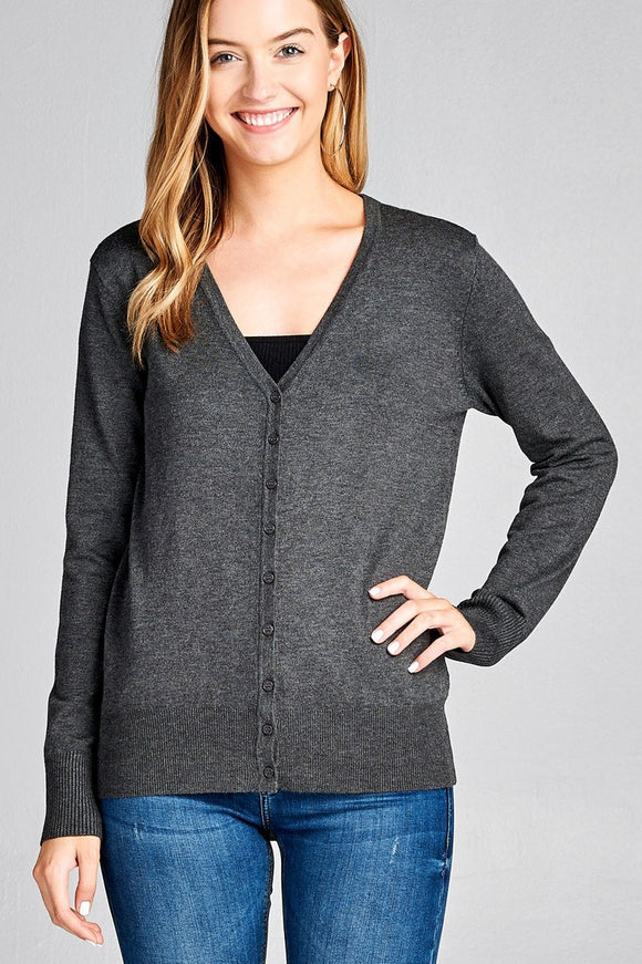 Long sleeve v-neck classic sweater cardigan