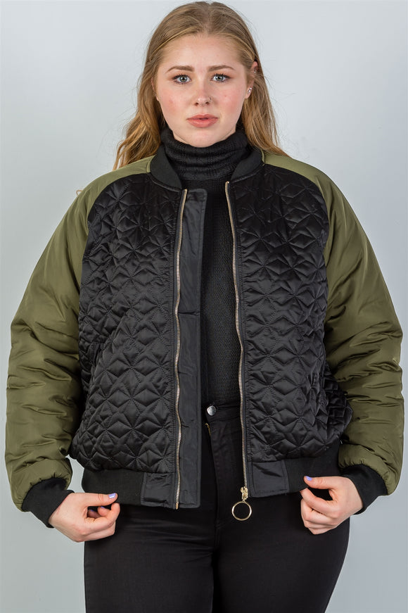 Plus size black & olive quilted bomber jacket