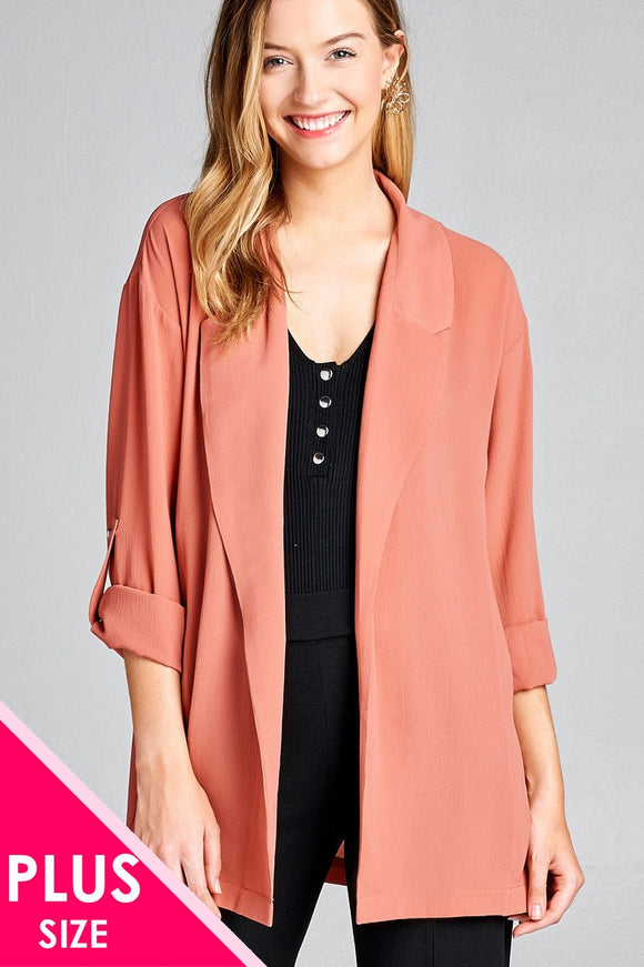 Plus size 3/4 roll up sleeve open front woven jacket