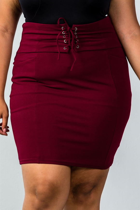 Plus size self tie lace up pencil mini skirt