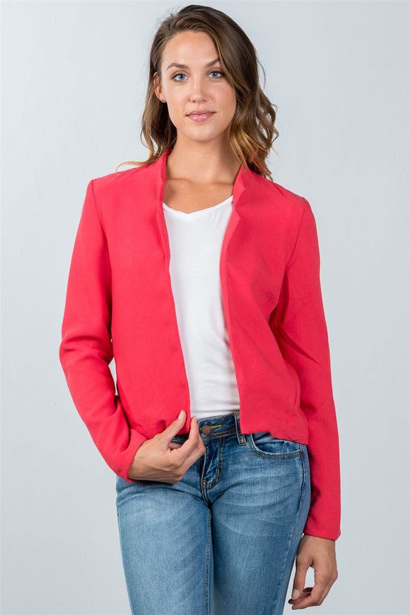 Ladies fashion red open front blazer