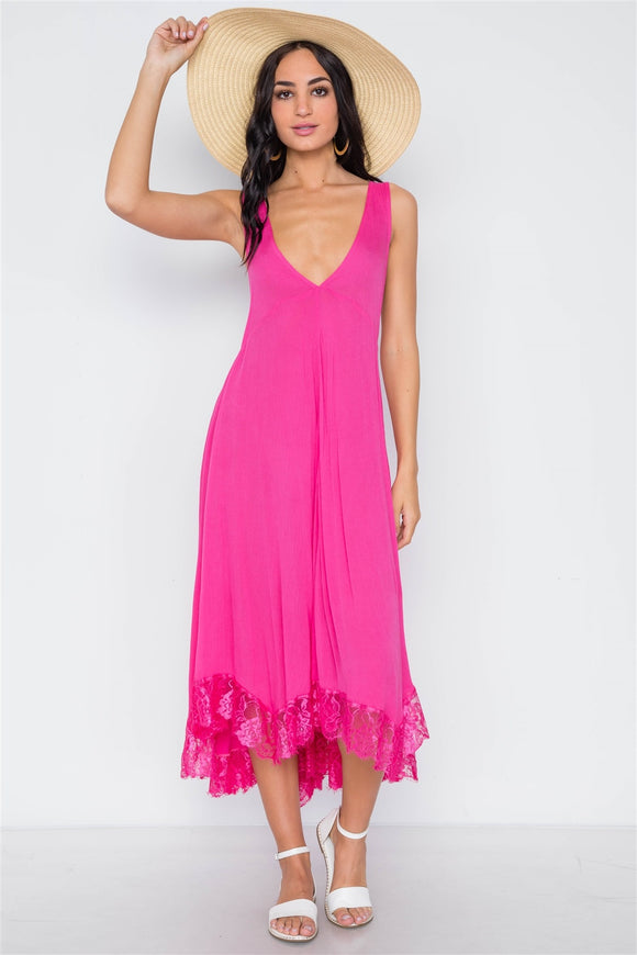 Pink Yarrow Deep Plunging V Neckline Loose Maxi Dress