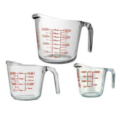 Anchor Hocking 3 PC Glass Measuring Cup Set