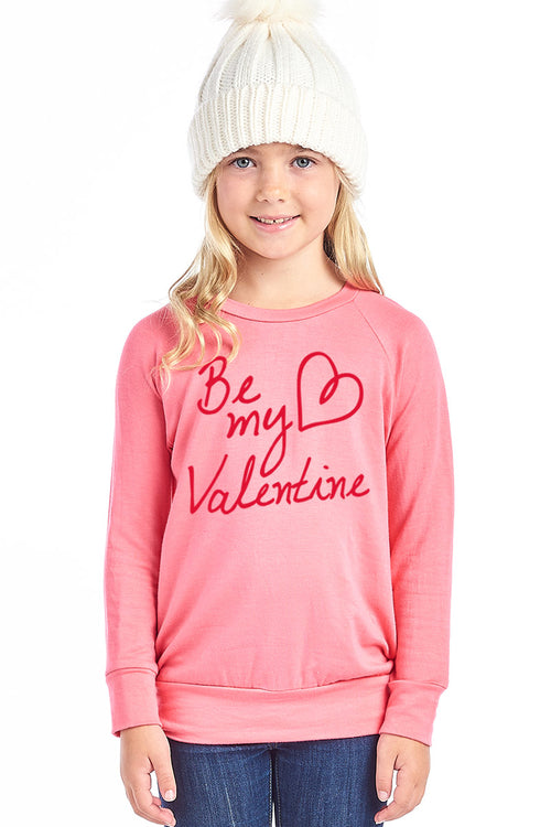 BE MY VALENTINE W/HEART DESIGN FRENCH TERRY LONG