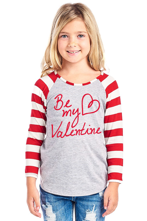 BE MY VALENTINE W/HEART DESIGN STRIPED LONG SLEEVE